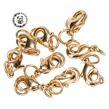 10pcs Rack Plating and Vacuum Plating Brass Lobster Claw Clasps jewelry making, with Two Jump Rings, Cadmium & Lead Free(China)