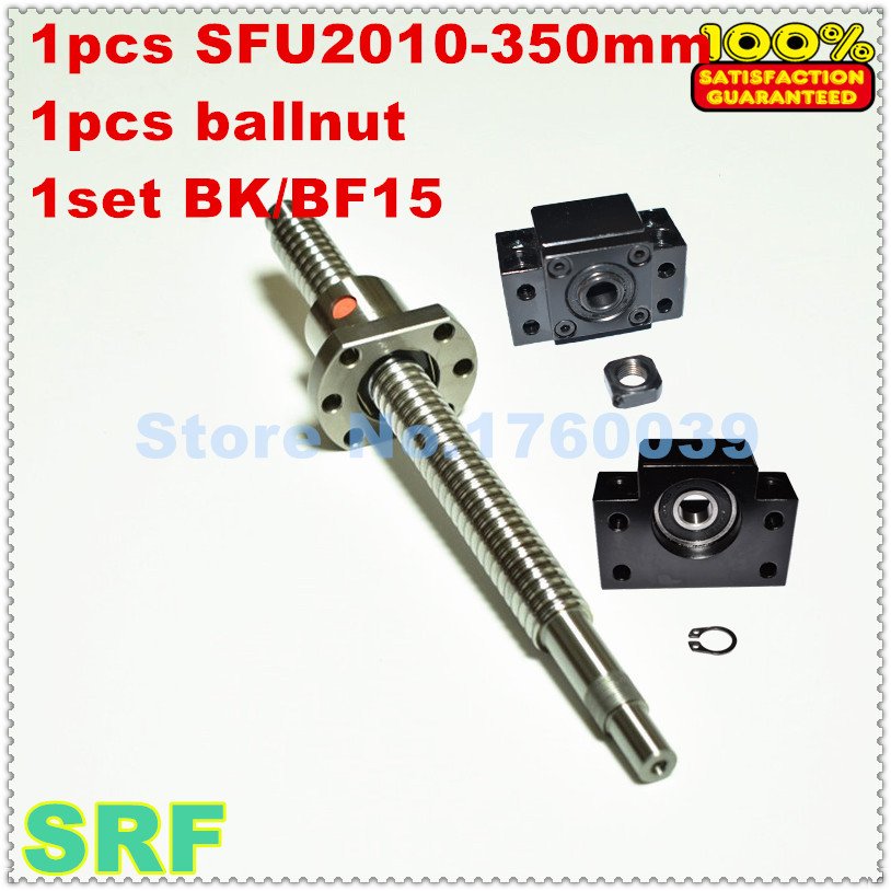 20mm Ballscrew RM2010 sets:1pcs Rolled ballscrew SFU2010 L=350mm C7+1pcs ballnut+1set BK/BF15 end support<br>