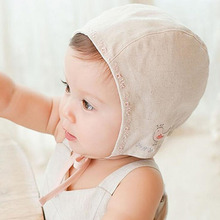 Korean Lace Up Cotton Baby Bonnet Enfant Bird Embroidery Sleep Caps for Children Girl Hats for 3-18 Months