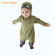 Malayu Baby Brand 2016 Europe and the new baby pilot Romper climbing clothes infant long-sleeved army green hooded Romper