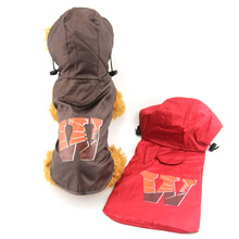 New Pet products dog clothes puppy clothing solid color waterproof dogs raincoat rainsuit jumpsuit Red Pink Coffee Color(China)