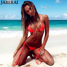 Buy JABEARI Sexy Bikini Set 2018 Women Swimwear Brazilian Bikini Thong Bottom Adjustable Halter Swimsuit Beach Bathing Suit Bikini