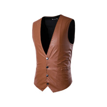 2017 foreign trade men's large size leather vest waistcoat men's vest colored real shot