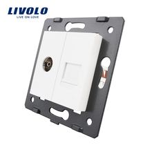 Manufacture Livolo, White Crystal Glass Panel, 2 Gangs Wall Computer and TV Socket / Outlet VL-C7-1VC-11, Without Plug adapter(China)