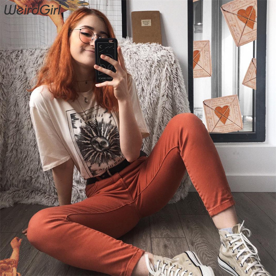 Weirdgirl women casual fashion t-shirt khaki letter sun moon print loose o-neck half sleeve elastic stretched summer home new 1