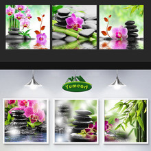 5D Triptych Home Decor Crystal Diamond Embroidery Mosaic Painting Rhinestone Pattern Cross Stitch Bamboo Butterfly Orchid Flower
