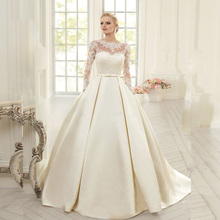 Vnaix W313 Elegant Simple Long Sleeve Wedding Dresses with Lace 2015 High Neck Backless Bridal Gowns Vestido De Noiva Princesa