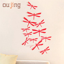 Wall Stickers Oujing 12pcs fashion creative 3D DIY Decor Dragonfly Home Party PVC Art Decal Wall Stickers or poster Aug16