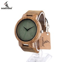 BOBO BIRD CbC18 Green Dial Zebra Round Wooden Watches Japanese Movement Quartz Casual Montre Homme in Gift Box