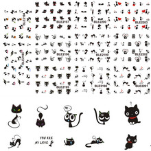 1sets 11designs Cute Nail Art Cat Series Stickers Decals Lovely Beauty Water Transfer Wraps French Tips Tattoos BLE2193-2203(China)