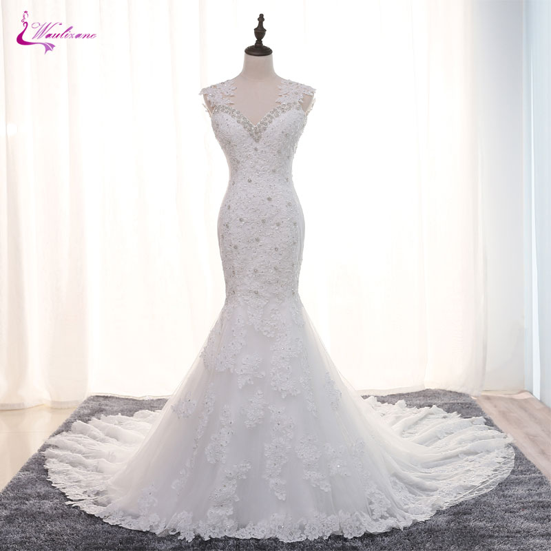 Waulizane Sparkly Crystal Beaded Sexy Sweetheart Mermaid Wedding Dress Hot Sale Elegant Appliques Chapel Train Bridal dresses