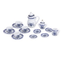 15pcs 1/12Dollhouse Miniature Thumbnails Blue and White Porcelain Tea Set Tableware Toy Furniture Accessory Plate Cup Teapot(China)