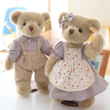 Cute Luxury Classic Teddy Bear Plush Toys Couple Ted Bears in Clothes Dolls High Quality 1 Pair 35cm(China)