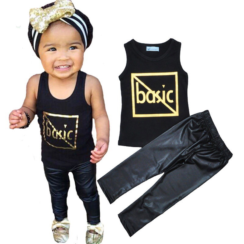 Retail Letter Pattern Girls Clothing Set Summer Style Baby Boy Girl Clothes Sleeveless T-shirt+PU Pants Kids 2pcs Set vetement<br><br>Aliexpress