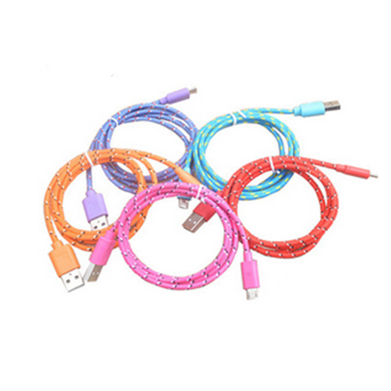 1M Color micro usb 2.0 Braided Nylon cable data charger power cable cord wire for Samsung galaxy s2 S4 S3 HTC lenovo huawei zte(China (Mainland))