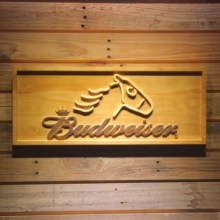 Budweiser Horse Head Beer 3D Wooden Bar Sign(China)