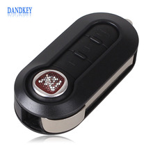 Dandkey 10PCS/LOT Car Key Shell Fob 3 Buttons Flip Folding Remote Key Case Blank Cover Fit For Fiat 500 Panda Punto Bravo