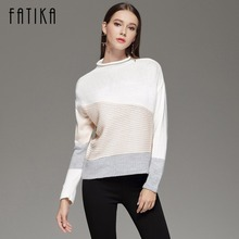 FATIKA 2017 Fashion Fall Winter Women's Sweaters And Pullovers Long Sleeve O neck Knitted Sweater Casual Color Block Jumper Tops(China)