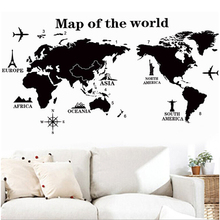 Hot Map Of The World Wall Stickers Home Decoration Black Adesivo De Parede PVC Removable Vinilos Paredes Home Decor Wallpaper(China)