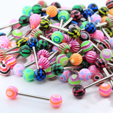 New Fashion 20pcs/lot Women DIY Colorful Stainless Steel Ball Barbell Tongue Rings Bars Piercing Jewelry Cosmetic Multicolor