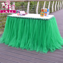 American Pastoral Style Tablecloth Green Color 80x91.5cm Tutu Table Dress Wedding Attendance Table Decoration Home Table Cloth(China)