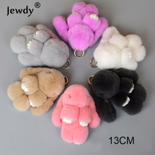 Fluffy Bunny Keychain Women Cute Rabbit Fur Ball Key Holder Pompon Toy Doll Bag Charm Car pompom de fourrure Keyrings Jewelry(China)