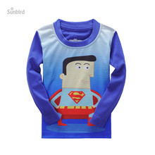 QD-16, 6pcs/lot, superman, Children boys long sleeve T shirts, 3D print cartoon T shirts for 2-7T