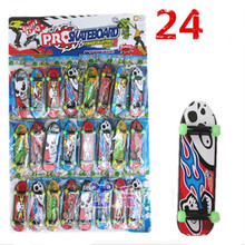 24pcs Mini Plastic Thumb Finger boards glow in the dark luminous Fingerboard wheel kids Toy Finger Skate finger skateboard(China)