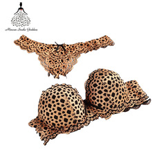 2017 Gold Leopard Bra Sets Women Sexy Lace Bra Embroidery Thongs Women Brief Set Super Push Up Lingeries Underwear Bra And Panty