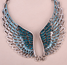 Angel wings bib necklace women biker bling jewelry gifts adjustable antique silver color W crystal ZN01 wholesale dropshipping(China)