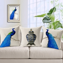 Home Garden Sofa Pillow Cushion Pillowcase Blue Peacock Peahen Jar Antique Vase 1PC Cotton Linen Cushion Cover 45*45cm(China)