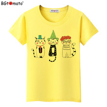 BGtomato T shirt Three Magic cat shirt women Colorful cats Beautiful t-shirt Cheap sale original brand soft t shirt women