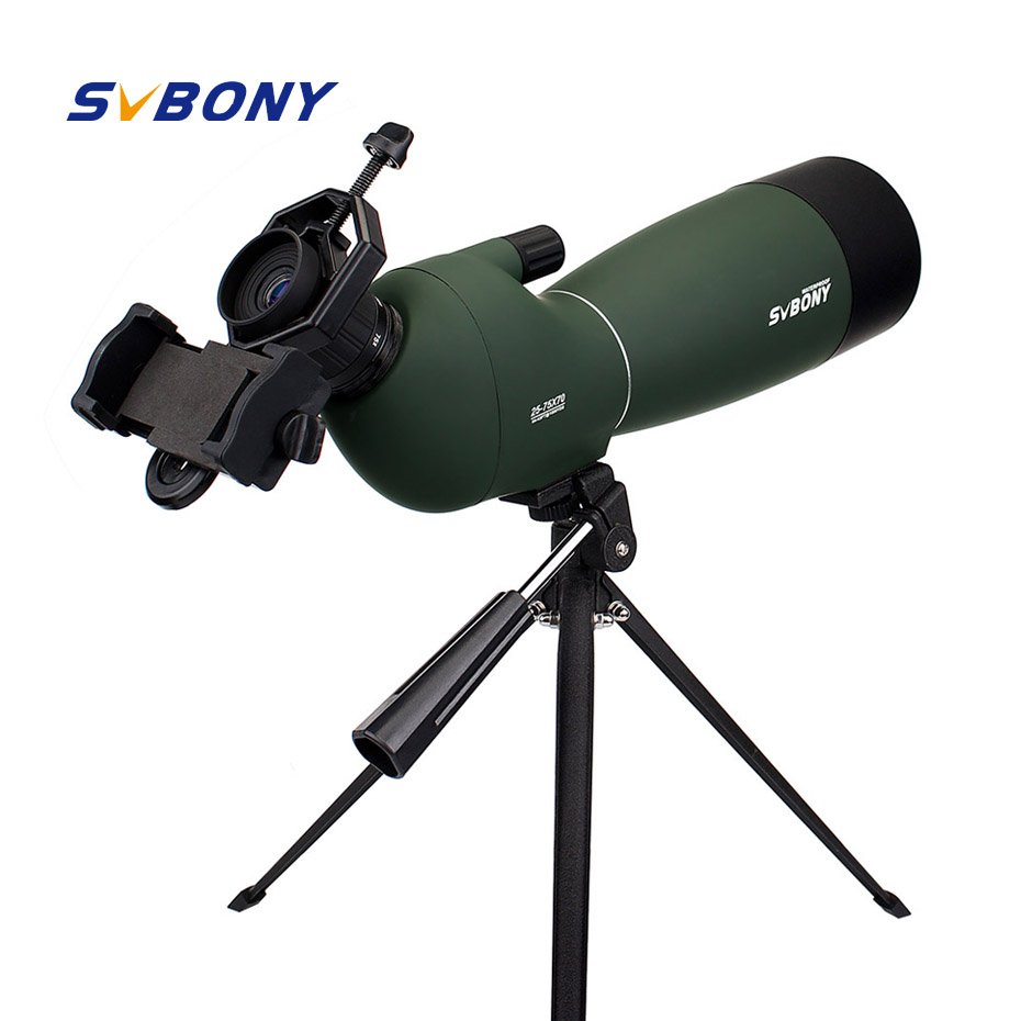 Svbony SV28 50/60/70mm Telescope Zoom Spotting Scope Waterproof Monocular w/ Universal Phone Adapter Mount for Hunting F9308 title=