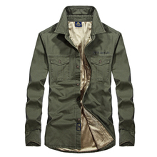 Plus size S-4XL Winter Autumn men's casual shirt brand afs jeep shirt men long sleeve warm shirt man leisure cargo shirts
