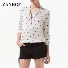 2017 Hot Sales White Blouse Women Cute Dog Printed Causal Animal Chiffon Blouses Stand Collar Long Sleeve Tops Plus Size Shirt
