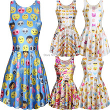 Hot selling milk silk slim sexy party women's summer dresses QQ emoji Expression 2015 new style 3D printed pleated skater dress