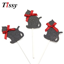 8PCS Sliver&Black Colors Cat Cupcake Toppers Birthday Cakes Topper Picks Birthday/Wedding Party Decoration Baby Shower Supplies