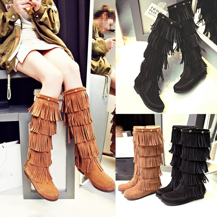 Black Brown Cowhide Suede Round Toe Side Zippers Women Fashion Comfort Knee High Flats Boots Winter New Tassel Design Footwear<br><br>Aliexpress
