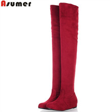ASUMER Plus size 34-47 new fashion over the knee boots flat thigh high suede boots low price black female fashion boots womens