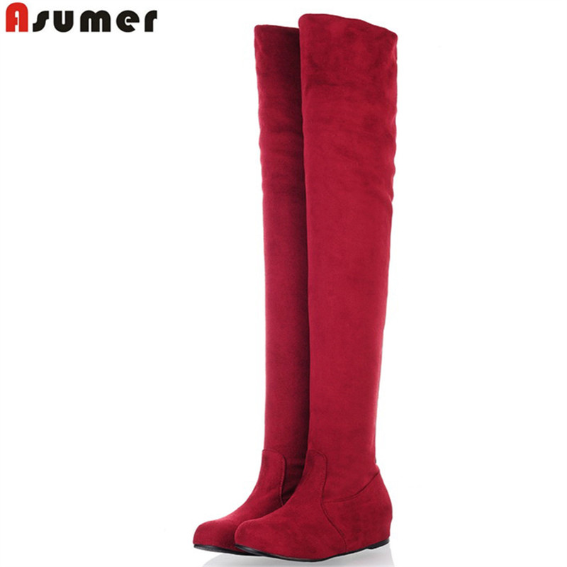 ASUMER Plus size 34-47 new fashion over the knee boots flat thigh high suede boots low price black female fashion boots womens <br><br>Aliexpress