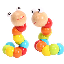 Colorful Insert Puzzle Educational Wooden Baby Toys Children Fingers Flexible Training Science Twisting Worm Dolls