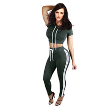 Womens Tracksuit Fashion Hooded Crop Top and Long Pants 2 Piece Set Female Cotton Casual Pants Suits Set Summer Outfits 6 Colors(China)