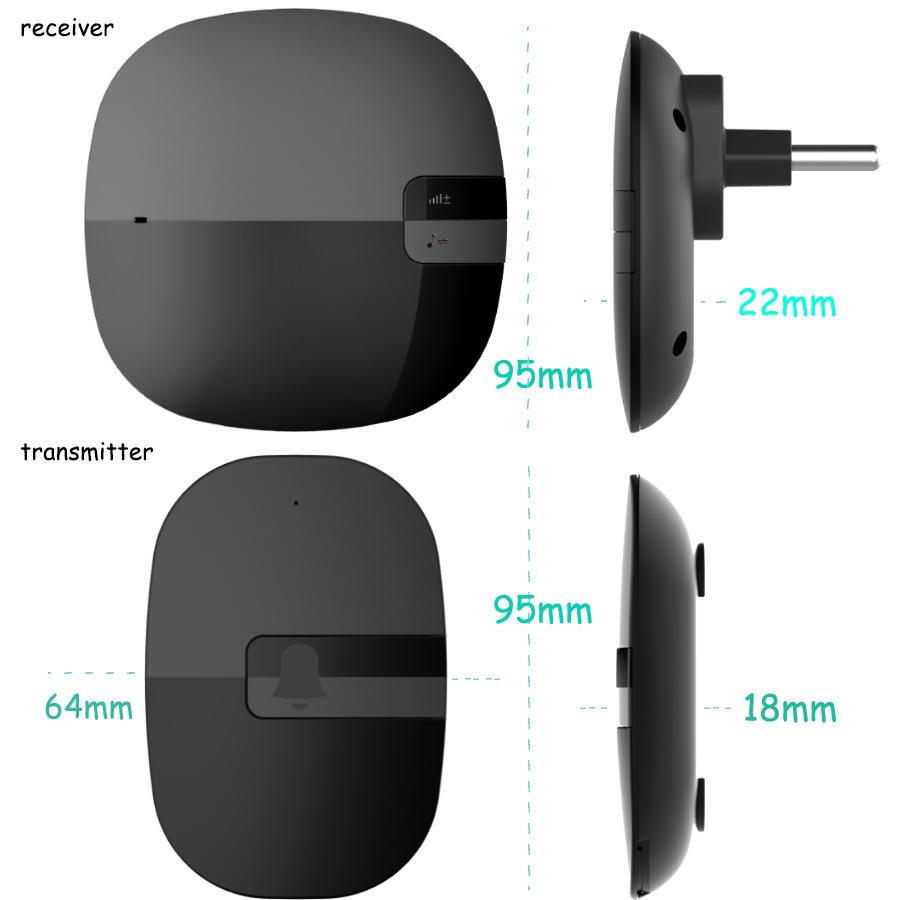 Cordless Wireless Doorbell Waterproof EU US Plug 350M range smart Door Bell chime 110V 220V 1 Button 1 2 Receiver with battery