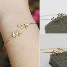 Women's Simple Leaves Bangle Bracelet Tree Leaf Charm Gold Silver Plated Jewelry  6TXU