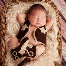 Baby Cowboy Boots and Vest Set Crochet Pattern Infant Costume Outfit Knitted Newborn Photography Photo Prop H187