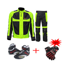 Riding Tribe Summer Motorcycle Ricing Jacket Pants Suits + 2x Offroad Riding Boots + 2x Moto Cycling Gloves Motobike Protections