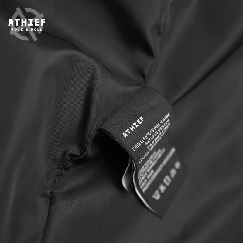 Athief Coat men hooded woolen long jacket young black embroidery new winter punk rock