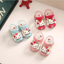 KKABBYII Baby Girls Summer Shoes Little Kids Sandals For Baby Girls LED Glowing Shoes Soft Anti-skip Hello Kitty Sandals Cute