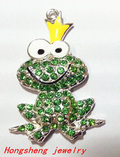 Hot sell!! 47x23 10pcs/lot  silver Zinc alloy rhinestone  frog prince Pendant for chunky beads Jewelry Necklace