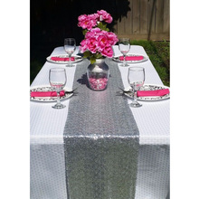 Most Cheap!!! Silver/Gold Sequin Table Runner For Event/Party/Banquet/Christmas Wedding Table Decoraiton (30cm by 180cm)-a(China)
